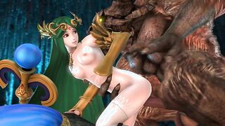 Demonio con una polla larga hueca princesa coño con pelo verde