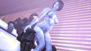 Cortana chupa a Dick y se folla al jefe maestro después de la derrota en Halo